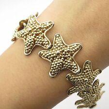 "Napier 925 Sterling Silver Gold Plated Unique Wide Starfish Link Bracelet 6.5"""