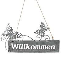 """Hänger Metallschild """"Willkommen"""" mit Schmetterlinge, 25cm/ grau Antik"""