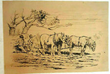 Unknown Artist Ink on Paper, Drawing Horses Country 18 x 25 cm, 18-19th Century