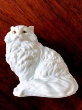Vintage Ceramic Persian Cat White Gold Eyes Iconic Cat Figurine