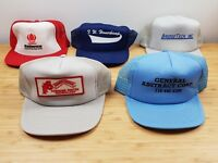 Vintage LOT (5) Construction Advertising Snapback Mesh Trucker Hat Cap Retro