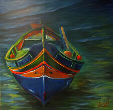 Original acrylic painting of a traditional Maltese Boat by Christopher Vidal