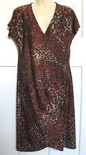 Ladies BROWN Print No crease Jersey Wrap Around Dress 12 14  #Sunday Market