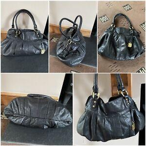 Betty Jackson black leather handbag/tote shoulder bag hobo