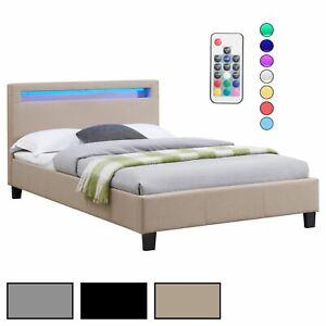 Lit simple avec sommier 120x190cm tête de lit avec LED intégrées en tissu