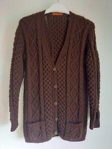 Ladies Vintage Handmade Knitted Crochet Brown Cardigan 12/14 - KATHERINE EVANS