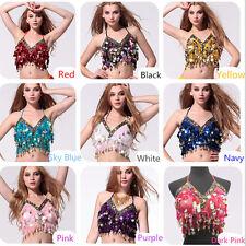 NEW Belly Dance Beaded Halter Top Bra Sequin Beaded Women Girls Costume Top