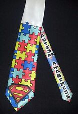 Autism Awareness puzzle tie - Autism Superman - White satin classic tie