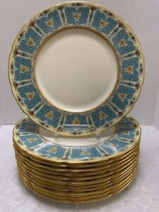 12 Lenox Enameled Antique Service Plates 1445/A302 Blue & Gold on Ivory Scallop