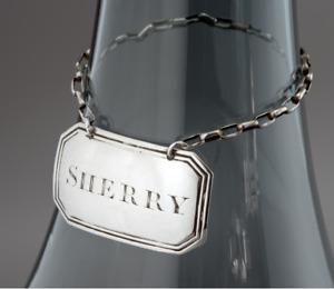 1826 Sterling Silver Georgian JOSEPH WILLMORE Decanter Bottle Label for SHERRY