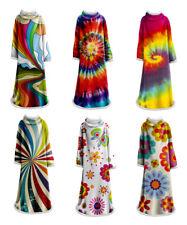 Tie-Dye Geometric Spirals Flower Large Fleece Adult Throw Blanket with Sleeves