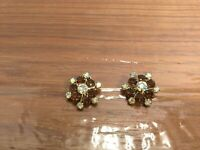 Vintage Silver-tone Amber & Aurora Borealis Rhinestone Clip On Earrings  A59
