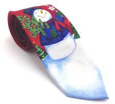 $95 JOHN ASHFORD Men`s RED WHITE BLUE SNOWMAN TIE CLASSIC SILK NECKTIE 58x3.25