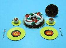 Dollhouse Miniature Fall / Halloween Bundt Cake with Tea, Plates & Forks ~ SC527
