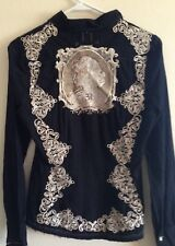 3J WORKSHOP Button Front Black Shirt Embroidered Cameo S