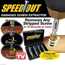 SpeedOut 4pc Damaged Screw Extractor Use With Any Drill As Seen On TV Speed Out