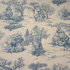 Tissu au mètre coton épigénétiques de Jouy patronale nature bleu Rips romantique NEUF