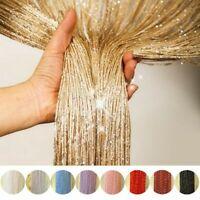 US Glitter String Door Curtain Beads Room Dividers Beaded Fringe Window Panel 2m