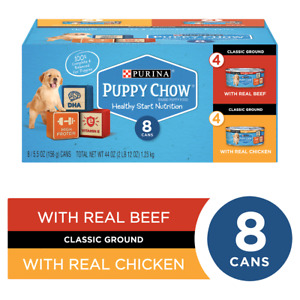 Puppy Chow Purina (8) Cans Healthy Start Nutrition 4-Real Chicken,4-Real Beef...