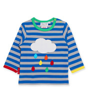 Toby Tiger Organic Cotton Rainbow Raindrop Cloud Applique Top | 2 3 4 5 6 Years