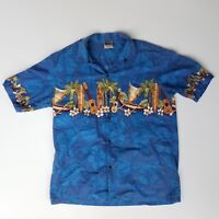 Winnie Fashion Blue Hawaiian Aloha Ukulele Surfboard Outrigger Palm Shirt XL