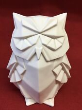 White Ceramic Decorative Owl w/ Inside Light-Glows In Dark