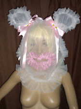 Prissy Sissy Maid Adult Baby CD/TV Sheer Nylon & Lace Frilly Mincing Slave Hood