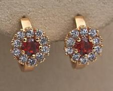 18K Gold Filled Earrings Ruby Zircon White Topaz Circle Flower Ear Hoops Women