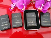 Best Man Personalised Lighter Wedding Day Gift Engraved Usher Groomsmen lighters