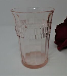 Pink Depression Glass Anchor Hocking Roulette Many Windows Water Tumbler