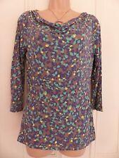 Boden brown cowl neck jersey top size 6, ¾ sleeves, green, navy, yellow patterns