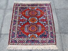 Old Hand Made Turkish Oriental Wool Cream Red Small Square Rug Carpet 100x92cm