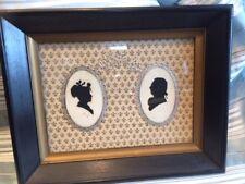 Glass Silhouette lady and man Fleur De Lis Pictures Vintage
