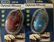 2 New usb wired optical mice mouse pc laptop computer security system red & blue