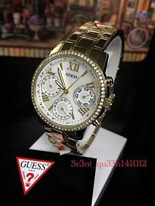 AUTHENTIC GUESS LADIES' MINI SUNRISE WATCH STONE GOLD W0623L Brand New RRP:$349