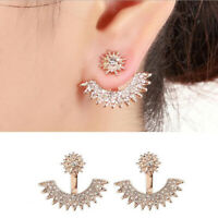 Fashion Women Lady Elegant 1Pair Crystal Rhinestone Ear Stud Earrings Jewelry