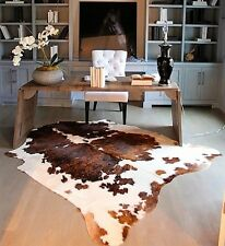 Tricolor Cowhide Rug Brown and White Brazilian Cow Hide Rug Exotic Skin Tri Cow