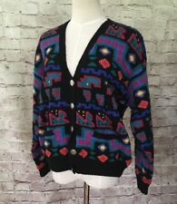 Vintage LL Bean Colorful Aztec Geometric Wool Cardigan Sweater Pockets Size M