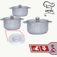 6Pc Cookware Pot Set Induction Hob High Quality Stainless Steel Kitchen Saucepan