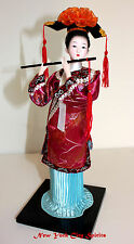 Traditional Chinese Art Silk Figurine Doll Statue-Flute