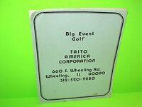 BIG EVENT GOLF By TAITO 1986 ORIGINAL VIDEO ARCADE GAME SERVICE REPAIR MANUAL