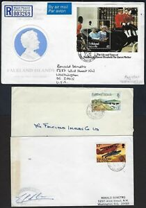 FALKLAND ISLANDS 1980 EIGHT COMMERCIAL AIR MAIL COVERS VARIOUS TOWN CANCELS INCL