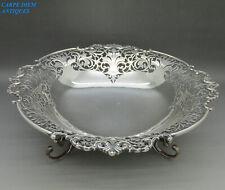 More details for antique stunning solid sterling silver pierced fruit bowl 25cm 585g london 1913