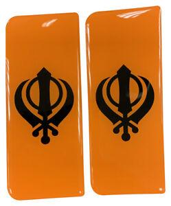 2x Black Khanda Orange B/G Gel Domed Number Plate Badges