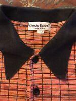 GIORGIO DANIELi Mens XL Short Sleeve Orange /black  Polo Shirt Made in Italy
