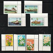 TUVALU 1978 X 2 SETS, CORNER MARGINALS.  SHIPS, FLOWERS.   M.N.H.