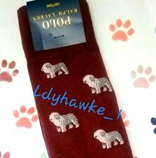 �💖 Polo Ralph Lauren Sheepdog Men's Socks Maroon Burgandy Dog Lover