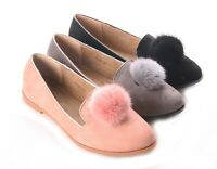 Womens Ladies Faux Suede pom pom Loafers Brogue Secretary School Shoes SIZE 3-8