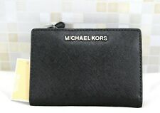 Michael Kors Jet Set Travel MD Carryall 2in1 Leather Wallet w/Card Case-BLACK