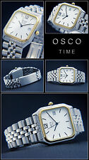 Osco Elegant Men's Watch Square Face Easy to Read, Stainless Steel Bi-Color